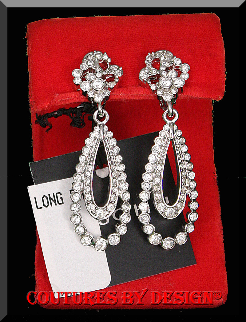c8250b2c6 St John Knits Swarovski crystals. Clip-on Drop/Dangle Earrings New without  tags. MSRP $156